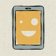 Tablet device smiling. vector, eps10 Stock Illustration