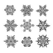 Macro-structure of real snowflakes, transformed and drawn as ornamental usabl Stock Illustration