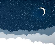 night sky with clouds (isolated copyspace), stars and crescent moon. - stock illustration