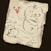 Treasure map on wooden background. map under mask, you can change the locatio Stock Illustration