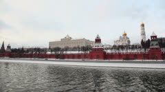 Traffic on Kremlin quay and Ivan Great Bell Tower Stock Footage