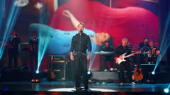 Maxim Leonidov performs on stage at Taganka Theater Stock Footage