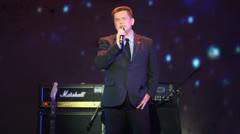 Singer Nikolai Rastorguev performs on stage at Taganka Theater Stock Footage
