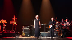 Stock Video Footage of Woman sings with band on stage at Taganka Theater