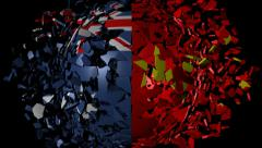 Australia China flag sphere converging animation - stock footage