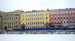 Fontanka river quay in Saint Petersburg, Russia Stock Footage