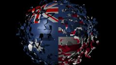 Stock Video Footage of Australia American flag sphere converging animation