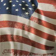 waving vintage american flag textured background. with dry blood spots. vecto - stock illustration