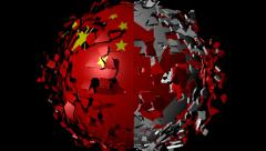 Chinese Canada flag sphere converging animation - stock footage