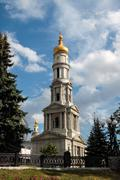 belfry of the assumption cathedral in kharkiv, ukraine - stock photo