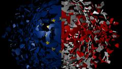 EU Canada flag sphere converging animation - stock footage
