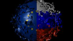 EU Russian flag sphere converging animation Stock Footage