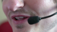 Mouth of costumer service telephone representative Stock Footage