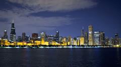 Chicago Skyline Planetarium Stock Footage