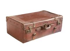 vintage leather luggage - stock photo