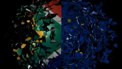 Stock Video Footage of South African EU flag sphere converging animation