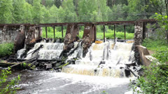 Demolished old dam in spring season Stock Footage