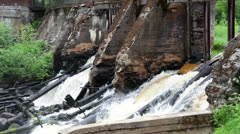 Rapid river with old dam Stock Footage