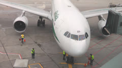 Alitalia Airbus Airport Ground Crew Stock Footage