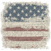 Vintage usa flag background with isolate grunge borders. vector illustration, Stock Illustration