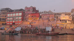 India Varanasi holy old city Stock Footage