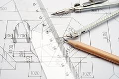 engineering design and drawing tools - stock photo