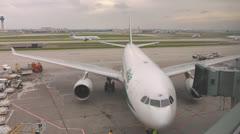 Stock Video Footage of Alitalia Airbus Passenger Jet