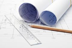 engineering design and drawing - stock photo