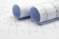 Construction plan blueprints Stock Photos