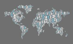 World map. social media concept. composed from many people silhouettes, vecto Stock Illustration