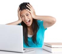 stressed student - stock photo