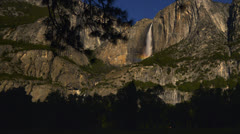Stock Video Footage of Yosemite Moonbow LM07 Timelapse Lunar Rainbow Pan R