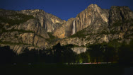 Stock Video Footage of Yosemite Moonbow LM12 Timelapse Lunar Rainbow Tilt Up