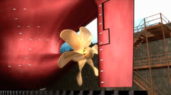 Stock Video Footage of Ship propeller, machine, engine, thruster, conventional, dock, dry, port.