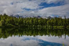 lake on alaska - stock photo