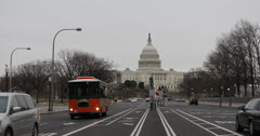 Ultra HD 4K Washington DC, Congress,  Avenue, US Capitol Building, Car Traffic - stock footage