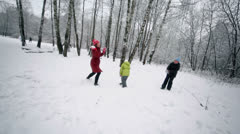 Woman plays snowballs with her kids in park at winter day Stock Footage