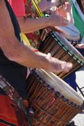 drummers playing at a saturday market - stock photo