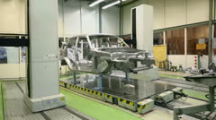 Equipment for accurate measurement of car bodies at Avtovaz - stock footage