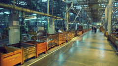 Workshop with car components production lines at factory VAZ - stock footage