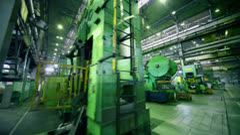 Rows of huge machines at workshop of factory VAZ - stock footage
