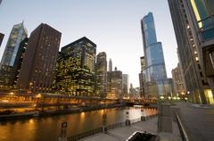 cityscape view at the chicago river. - stock photo