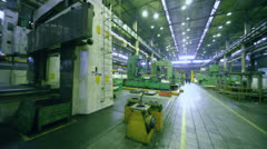 Machines in workshop at Avtovaz factory, (panoramic motion) Stock Footage