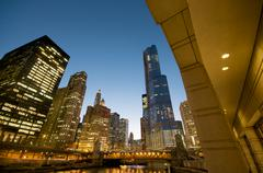 cityscape view at the chicago river at night. - stock photo