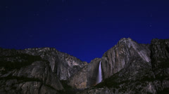 Stock Video Footage of Yosemite Moonbow LM35 Timelapse Lunar Rainbow