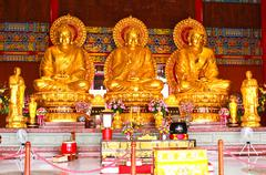 The three buddhas in the chinese temple of thailand Stock Photos