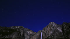 Stock Video Footage of Yosemite Moonbow LM37 Timelapse Lunar Rainbow Tilt Down