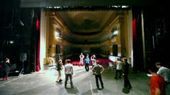 Troupe of actors rehearse at Palace on Yauza Stock Footage