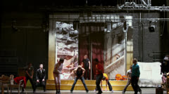 Actors dance at rehearsal in Palace on Yauza Stock Footage