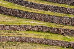 peru, moray, ancient inca circular terraces. probable there is the incas labo - stock photo